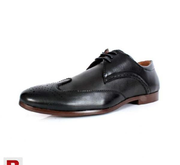 Black front stiched design formal shoes