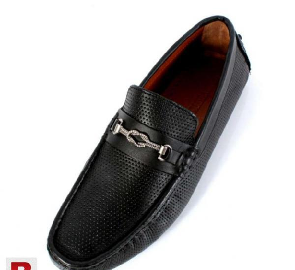 Black leather stitched design dotted stylish loafers shoes