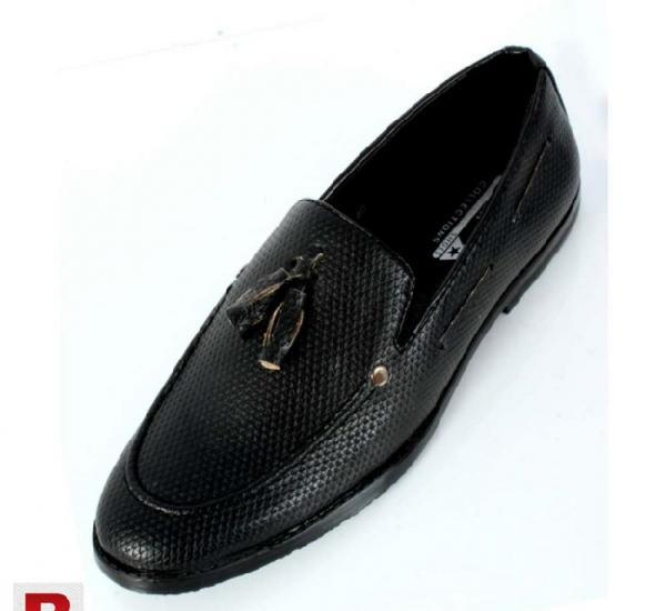 Black stitched design stylish loafers shoes