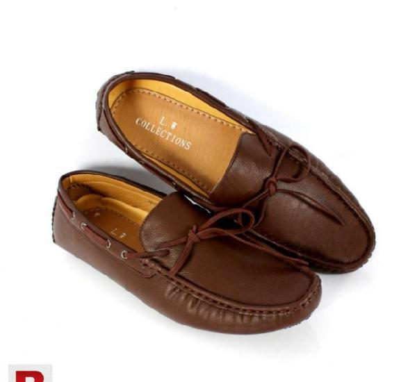 Brown stitched laceup design loafers shoes cs-1002