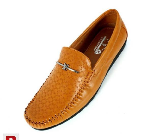 Camel brown stitched design loafers shoes cs-1003