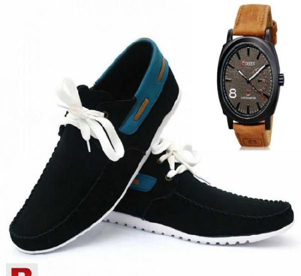 Combo of 2 black sneaker+curren leather strap watch ut-deal