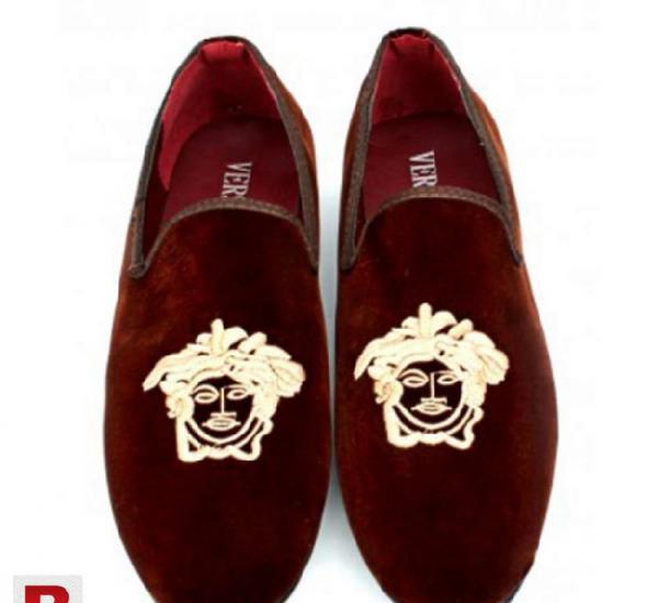 Dark brown valvet stylish loafers shoes