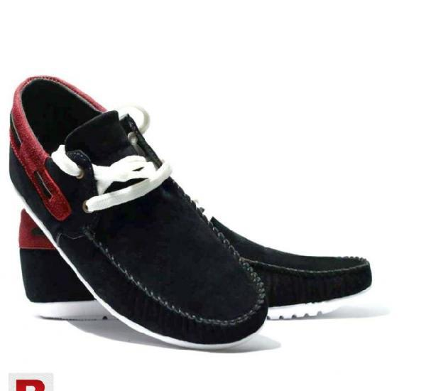 Mens blazing black red casual laceup loafers