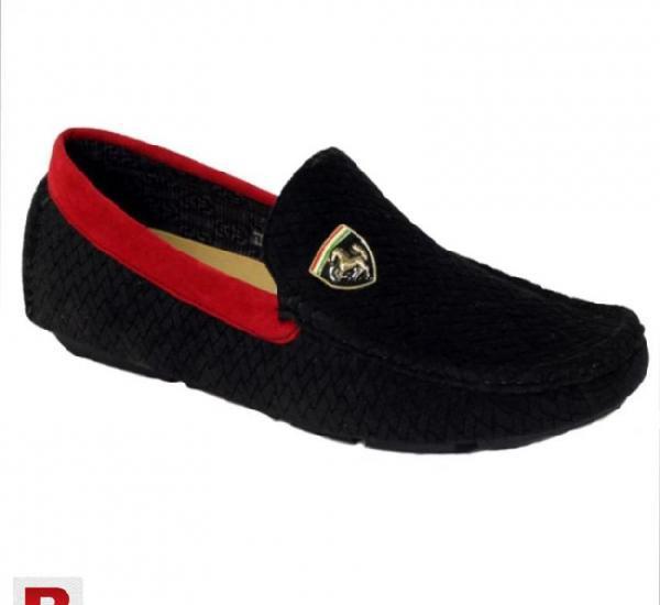 Stylish ferrari black & red loafers for men