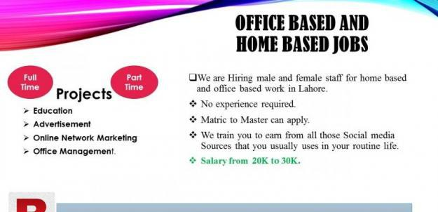 Urgent male and female staff required for office/home based