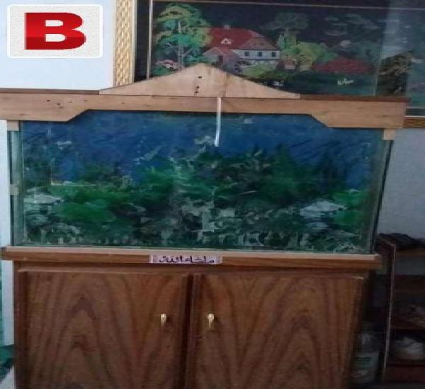 Aquarium with wooden cupboard
