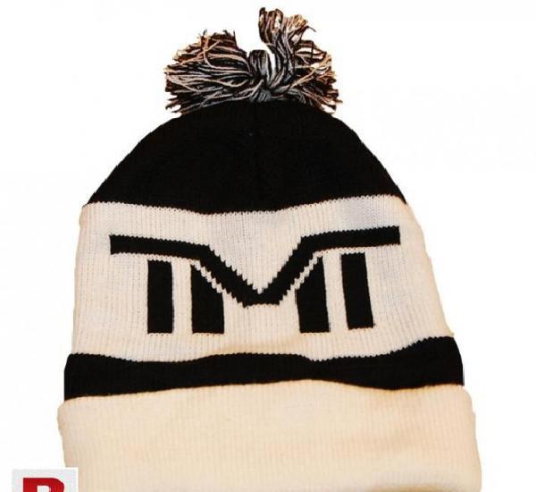 Black & white winter wool cap