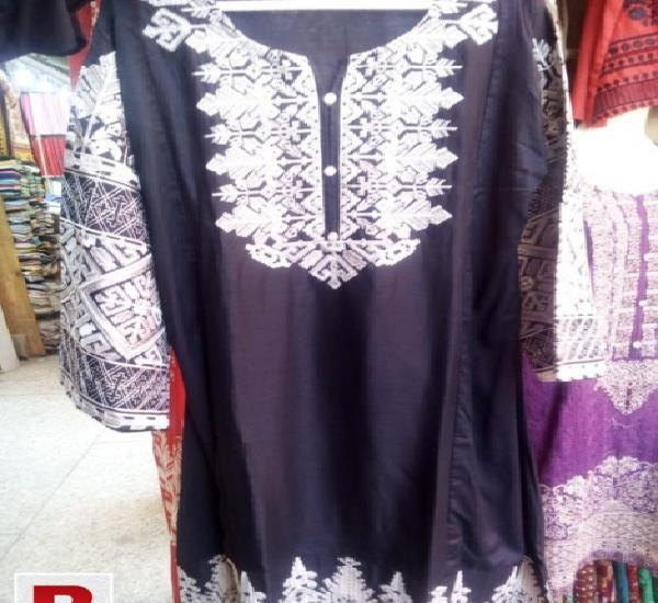 Cotton stitched kurti in black ang white color
