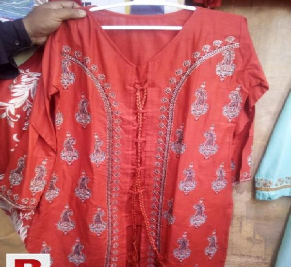Cotton stitched kurti in red color