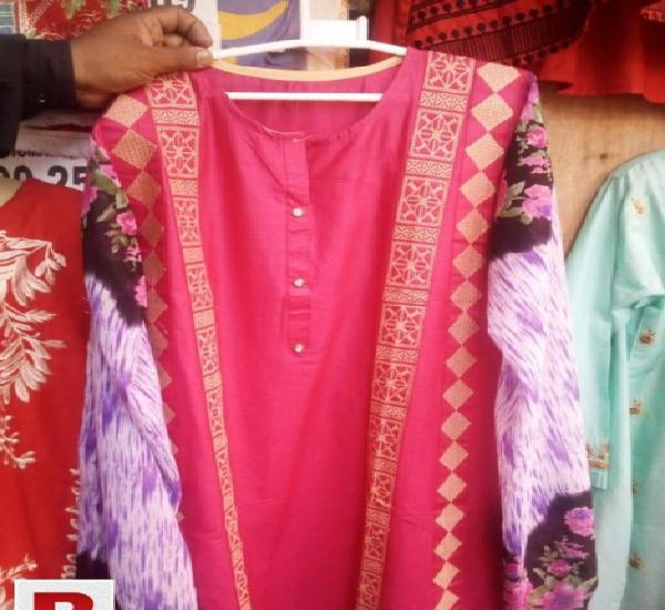 Cotton Stitched Kurti In Red and Golden Color