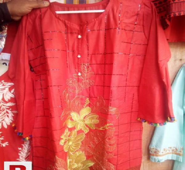 Cotton Stitched Kurti In Red and yellow Color