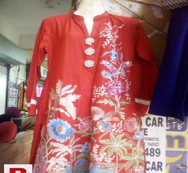 Cotton stitched kurti red color