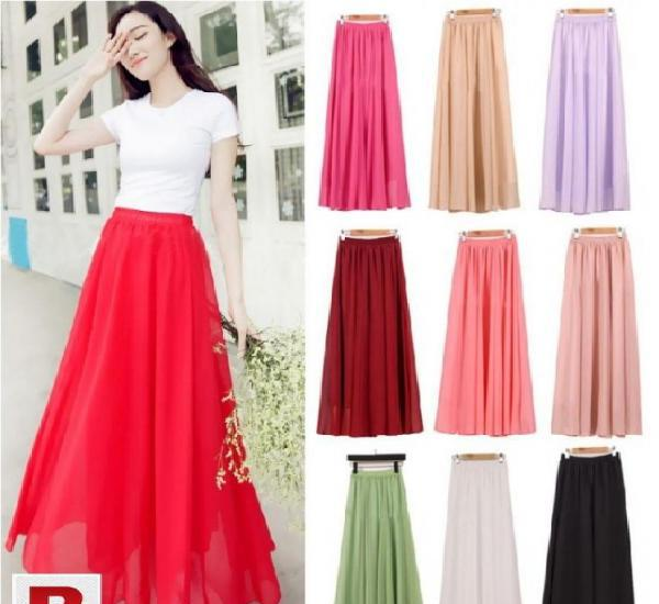 Long length chiffon maxi skirts