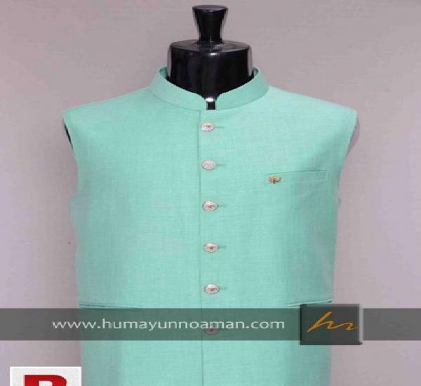 Sea Green Raw Silk Stuff Waistcoat