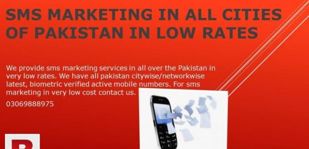 Sms marketing in all cities of pakistan in low rates