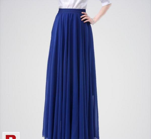 Women's navy blue chiffon retro maxi long skirt