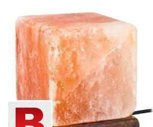 Rock salt cube lamp 12 cm with wood base,usb port and bulb