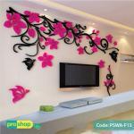 3d flower acrylic wall stickers butterflies dancing,