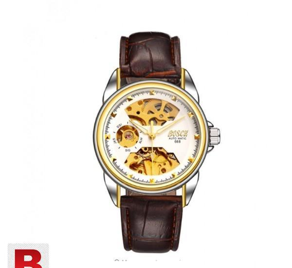Bosck mechanical watches men skeleton gold watch automatic