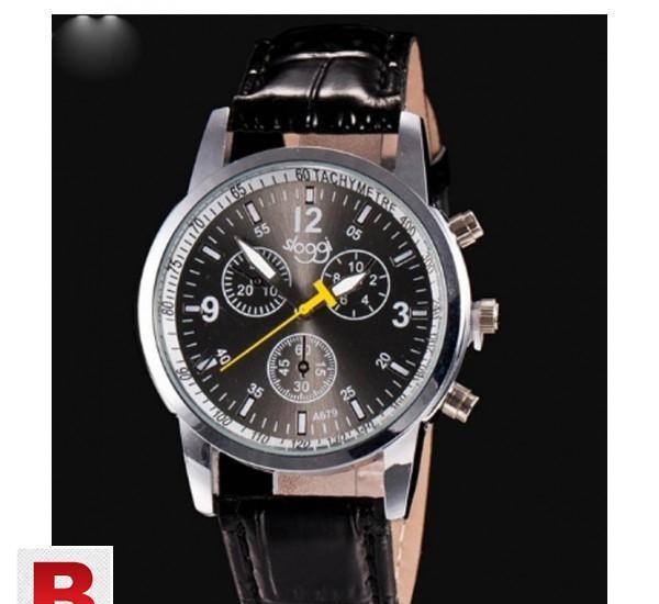 Fashion crocodile faux leather mens analog watch wrist