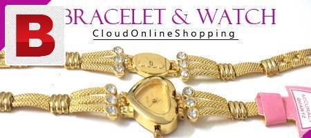 Heart shape ladies golden wrist watch with bracelet