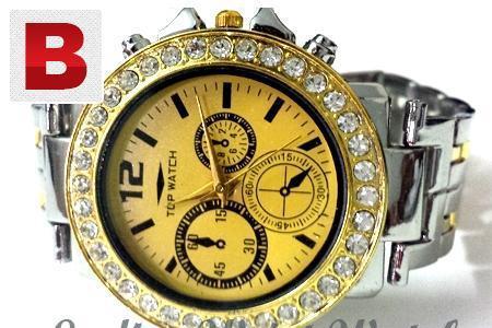 Ladies golden chain wrist watch