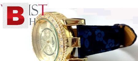 Ladies golden strap wrist watch