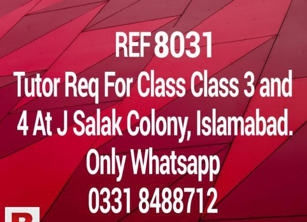 Need tutor for class 3 and 4 at j salak colony