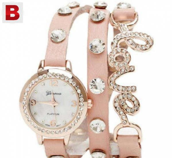New love leather bracelet watch available for women