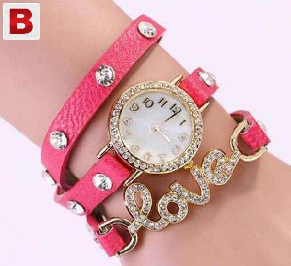 New women vintage leather stylish strap watch