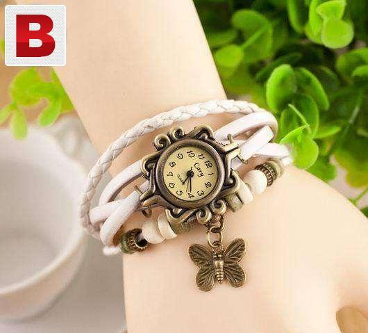 Wrist watch leather braclet strap butterfly 5 colours