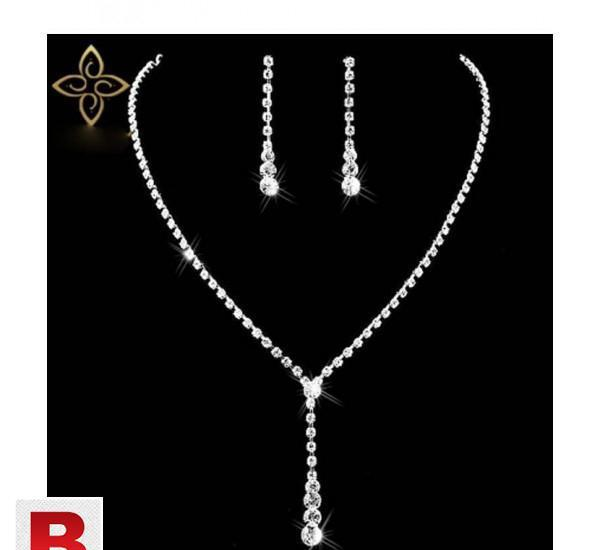 Silver plated celebrity style drop crystal necklace earrings