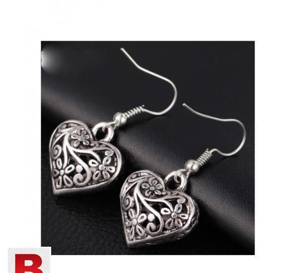 Tibetan antique silver color hollow heart drop earring