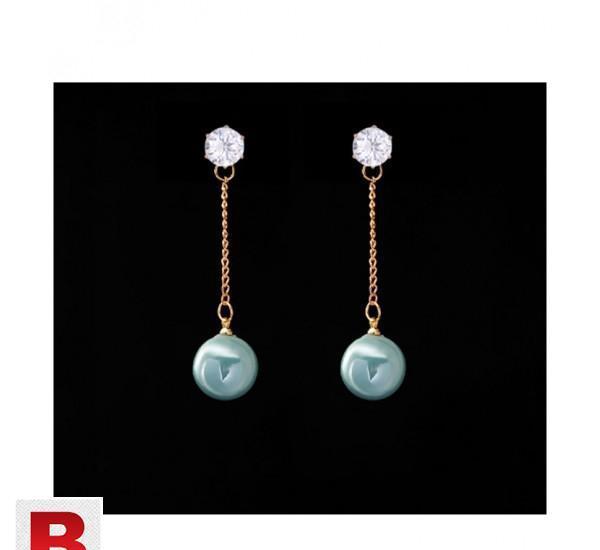 Trendy elegant long earrings cz stone drop earrings 6color