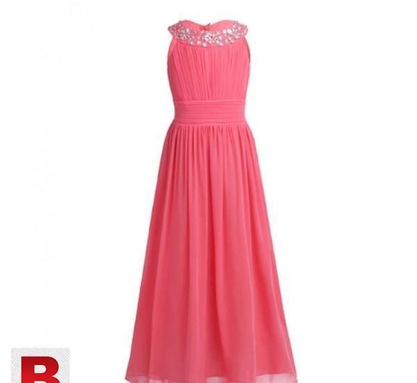 Girls Chiffon Sleeveless Princess Wedding Dress.19