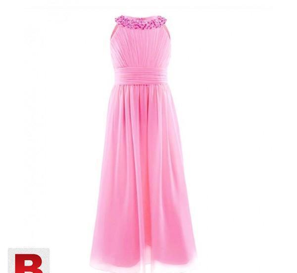 Girls Chiffon Sleeveless Princess Wedding Dress.2