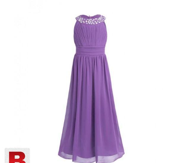 Girls Chiffon Sleeveless Princess Wedding Dress 25