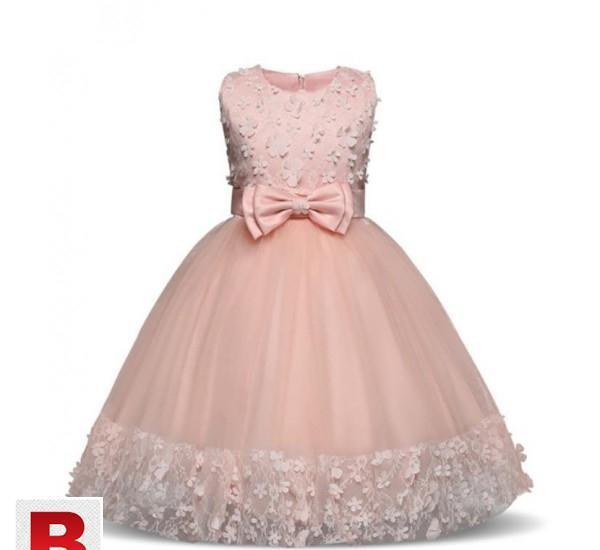 Girls Dress Mesh Pearls Children Wedding Party Dresses