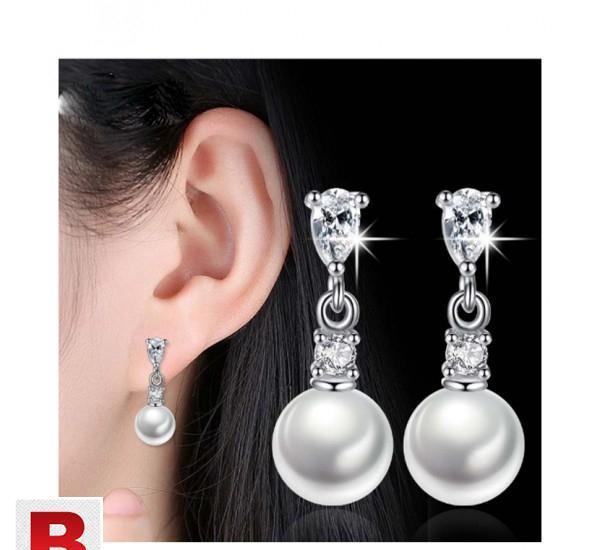 Trendy elegant long earrings cz stone drop earrings