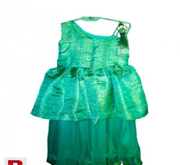 Fancy Stitched Jamawar Girls Frock with Shara Pant green