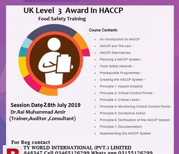 Haacp course in pakistan
