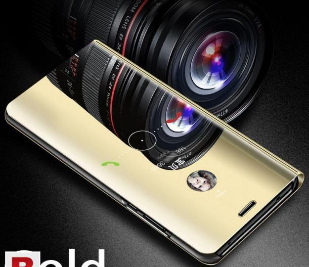 Smart clear view flip case stand cover for huawei y9 gold
