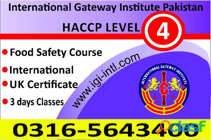 Level 4 HACCP Food Safety Advance Training Course In Islamabad