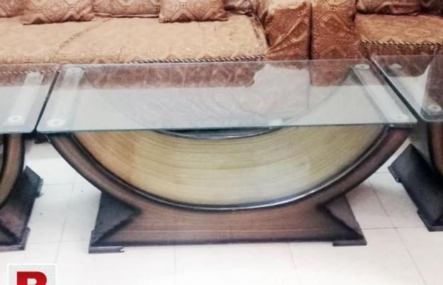 3 piece center table set, wooden and glass, excellent