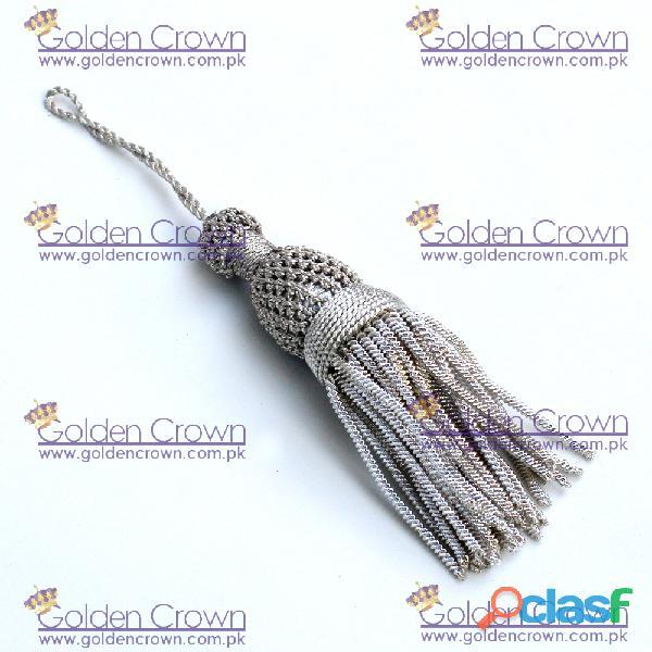 French Silver Bullion Wire Tassels