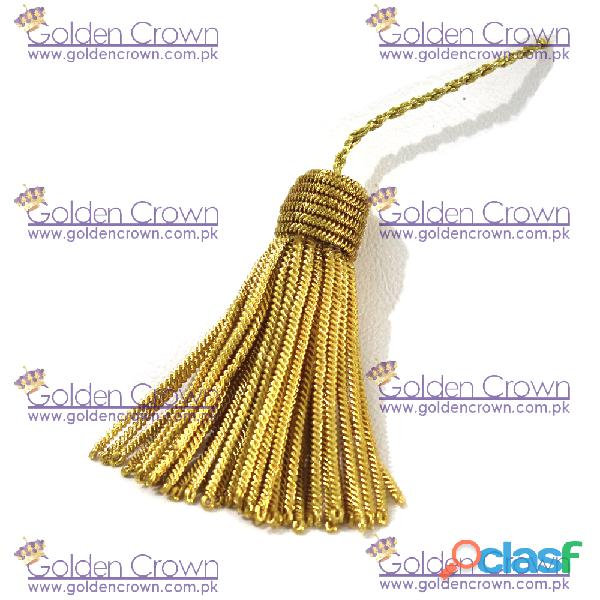 Gold metal bullion wire tassels handmade