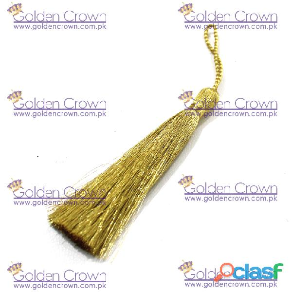 Silk thread long tassels gold