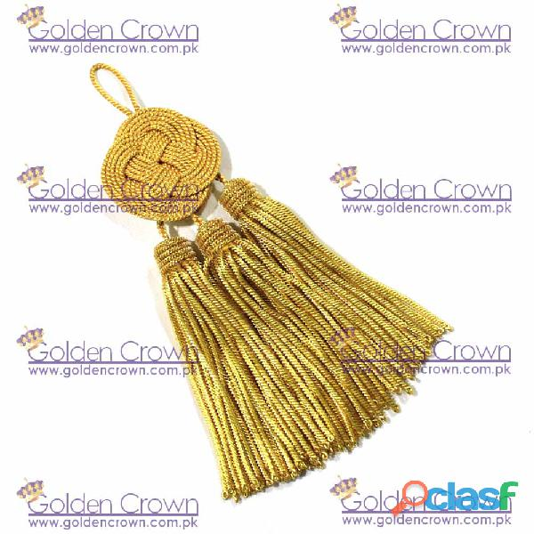 Bullion tassel with knot 3 small gold tassels metallic thread and viscose for liturgical