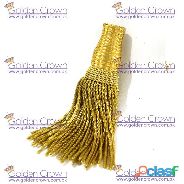 Gold metallic bullion wire tassels